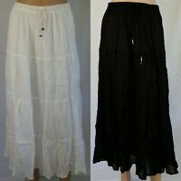 Long COTTON Skirt NEW Size 10 12 14 16 White Black Crinkle Easyfit Elastic Waist
