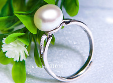 9-10mm AA+ grade bread white akoya pearl ring  silver wedding best  FF005
