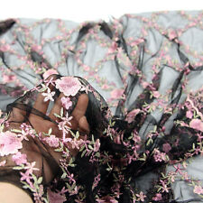 1*1.3m Lace Fabric Flower Floral Embroidery Wedding Bridal Veil Mesh Dress Black