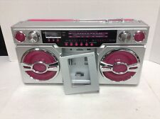 Pottery Barn Teen Portable Pink Silver Boom Box Ipod Am Fm Radio Music Media Hub