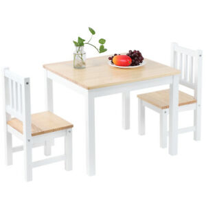 3 Piece Dining Table Set W/ 2 Chairs Wooden Kitchen Breakfast Bar Room Furniture