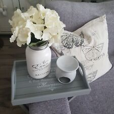 Brand New Grey French Script Design Wooden Sofa Tray Foldable - (240m)
