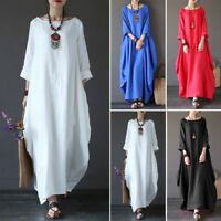 Fashion Women Crew Neck Loose Casual Solid Cotton Baggy Oversize Long Maxi Dress