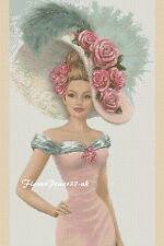 Cross stitch chart  Elegant Lady 156n Flowerpower37-uk.-.free uk P&p......
