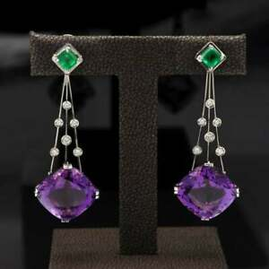Very Beutiful Large Cushion Shape 25.17CT Amethyst With 1.19CT Emerald Earrings