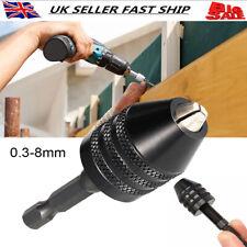 """3 JAW KEYLESS DRILL CHUCK 1/4"""" HEX DRIVE SHANK MINI PIN QUICK CHANGE 0.3-8mm UK"""