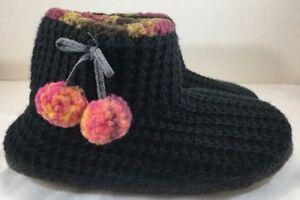 NEW! Cuddl Duds Fleece Lined Ankle Bootie Slippers w/ Foam Insole, Black - Small