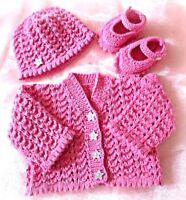 Baby girl DK knitting pattern to knit hat cardigan shoes set