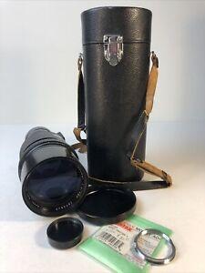Ashi Pentax Takumar F4 300mm Telephoto Lens, K Adaptor, Caps and Carrying Case