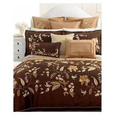Martha Stewart BEDFORD FLOWERS 7pc King DUVET / QUILT SET Brown Gold $1670