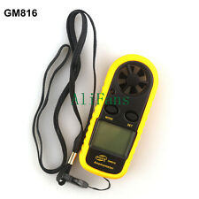 Mini Digital LCD Anemometer Wind Speed GM816 Tester Temperature Thermometer