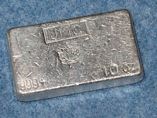 Johnson Matthey Canada Maple Leaf .999 Silver 10 Oz Bar Old Poured Type B6963