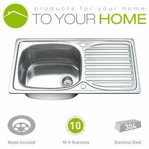 1004 1.0 Single Bowl Stainless Steel Kitchen Sink, Drainer & Waste