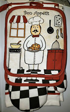 NWT FAT CHEF CHECKED 7 PC KITCHEN SET TOWELS OVEN MITT POTHOLDERS DISHCLOTHS