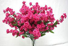 12 Baby's Breath ~ FUCHSIA HOT PINK Gypsophila Silk Wedding Flowers Centerpieces