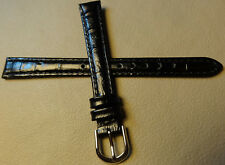 New 12mm Regular Womens Genuine Leather Black Bamboo Crocodile Grain Watch Band