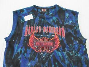 Vtg Harley Davidson Sleeveless Tie Dye T-Shirt Size Medium **NEW**