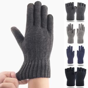 Men Gloves Wool Cashmere Solid Thicken Knitted Warm Touch Screen Winter Mitten