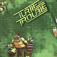 Teenage Mutant Nunja Turtles Tmnt Twin Flat Top Bed Sheet Fabric Green
