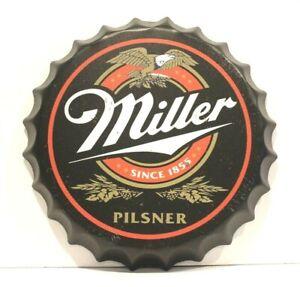 New Miller Beer Bottle Cap Tin Metal Sign Poster Bar Man Cave Pub Pilsner