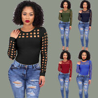 Womens Choker High Neck Long Sleeve Shirt Caged Casual Blouse Lady Tops T-Shirt