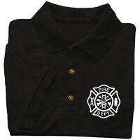 Fire Dept polo shirt firefighter fireman firemen collared uniform costume