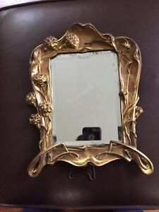 Cast Iron Flower Vintage Standing Picture Frame With Mirror