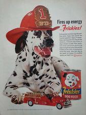 1962 Friskies Dog Food Firetruck Dalmatian Dog Fire Department Hat Original Ad