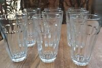 Palaks Tumblers Glasses 10 Panel Tapered Clear Glass 10 Ounce ~ Lot of 9