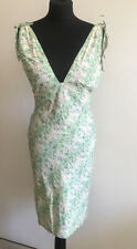 French Connection Dress Size 10 Green Cotton Low Neckline Sleeveless