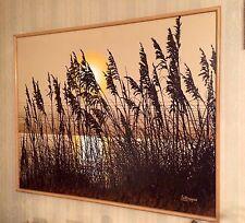 Large Letterman Mid Century Canvas Silk screen Textured Sea Oats Sunset Ocean