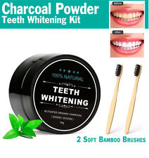 Natural Teeth Whitening Activated Coconut Charcoal Powder 2 Bamboo Toothbrushes