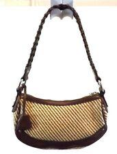 BANANA REPUBLIC Shoulder Bag Handbag Purse BROWN LEATHER STRAW Leather SMALL