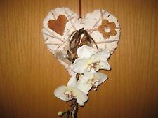 Kranz Herz Türkranz Willkommen Türdeko weiß Orchidee Filz Floristik Frühling