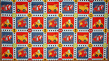 Construction Truck Firetruck Block Cotton Fabric AE Nathan Keep On Truckin PANEL