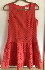 Sail to Sable Dress Eyelet Drop Waist Zip Back Coral Size 4 Preppy