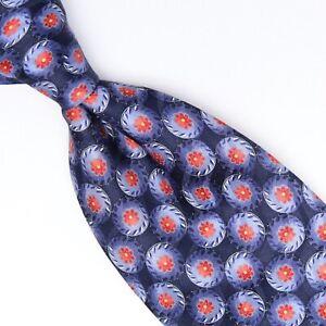 Ermenegildo Zegna Mens Silk Necktie Navy Light Blue Red Floral Print Tie Italy