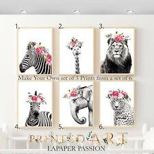 Safari Animal Nursery Wall Prints, Girls wall prints,Safari wall Decor, wall art