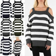 Women High Low Stripe Oversized Ladies Knitted Cold Shoulder Baggy Bardot Jumper