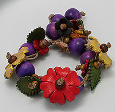 """7"""" Forest Nature Leather and Wood Flower Bracelet Purple Beads NEW"""