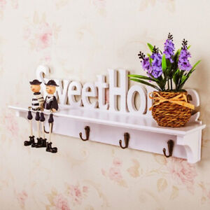 Wooden Wall Mounted Home Sweet Hanging Hanger Hooks Key Holder Clothes Cute