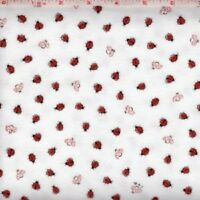 LADY BUGS  WHITE Flannel Cotton Fabric by FABRI QUILT  BTY