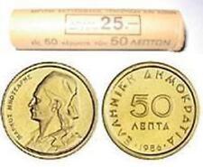 Greece Greek 50  Lepta  coin roll KM# 115  Year 1986 UNC BU Low Mintage  399.982