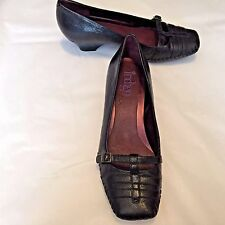 """Clarks Indigo Women's Shoes Black Leather Square Toes 1.5"""" Heel Size 8M"""