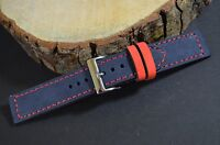 MA WATCH STRAP 22 20 18 MM GENUINE NUBUCK LEATHER BAND FOREST BLUE RED FOR ROLEX