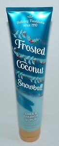 NEW BATH BODY WORKS FROSTED COCONUT SNOWBALL SHEA SPARKLE SCRUB WASH SHOWER GEL