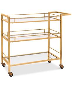 Martha Stewart 3 Tier Copper Tone Rolling Bar Cart