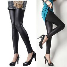 Black PU leather Stretch Leggings Jeggings Pants