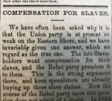 1866 BOONSBORO MD newspaper EASTERN SHORE MD SLAVE OWNERS DEMAND COMPENSATION