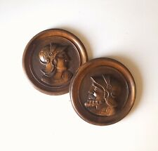 Gothic figure warrior panel pair Antique french round carving medieval mount